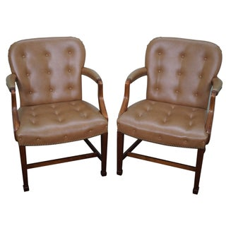 Mahogany Chesterfield Chippendale Chair - A Pair