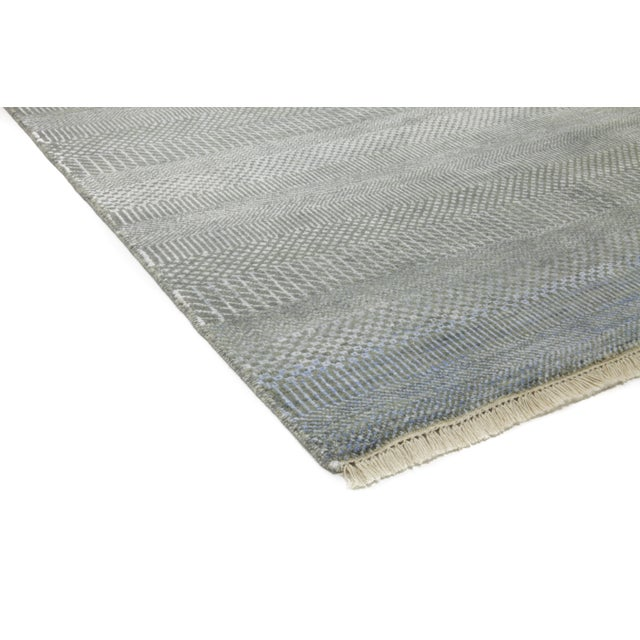 "Tonal Striped Hand Knotted Area Rug - 9'1"" X 12'3"" - Image 3 of 4"