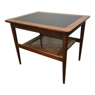 American of Martinsville Occasional Table with Caned Shelf