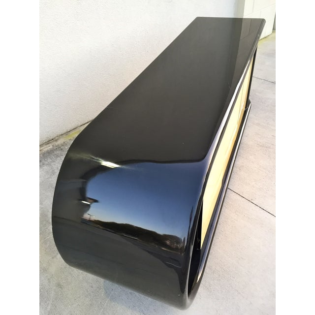 Curved Black Lacquer Credenza - Image 3 of 11