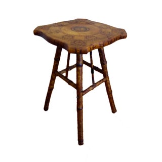 Antique Victorian Scorched Bamboo Side Table