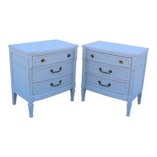 Mid-Century 3-Drawers Gray Nightstands - A Pair