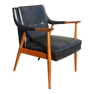 Vintage Mid-Century Danish Modern Black Vinyl & Wood Arm Chair