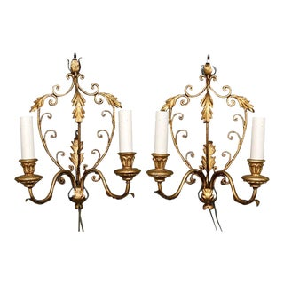 French Gilt Metal Two Light Sconces - A Pair