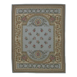 French Aubusson Design Hand Woven Light Blue & Gold Floral Wool Rug - 8' X 10'