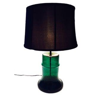Blenko Blown Glass Emerald Barrel Lamp