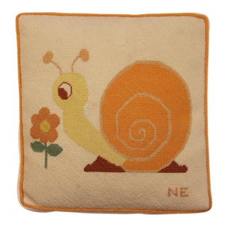 Vintage Snail Needlepoint Pillow