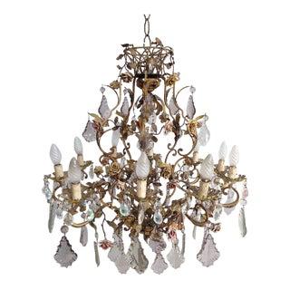 Elegant Crystal and Porcelain Flower Chandelier