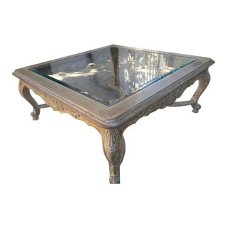 Traditional Blonde Wood Glass Top Coffee Table
