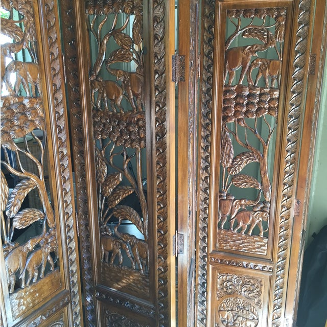 5 Panel Engraved Wood Screen From Indonesia - Image 3 of 6