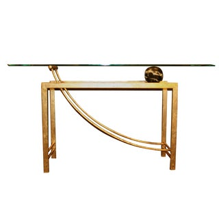 Post-Modern Glass, Metal and Marble Orb Console