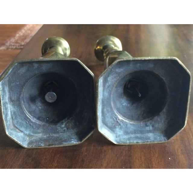 1897 English Brass Candlesticks - Pair - Image 6 of 6