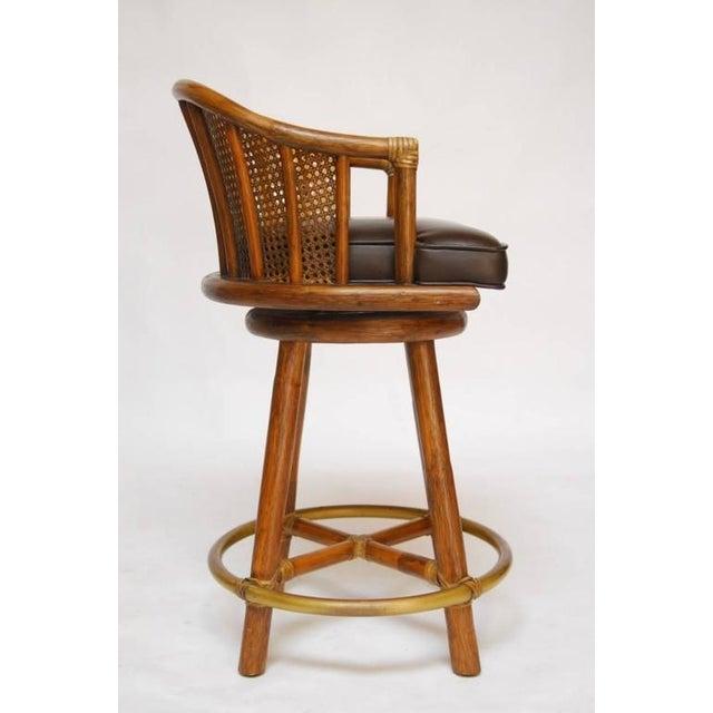 McGuire Bamboo & Cane Swivel Barstools - Set of 4 - Image 4 of 10