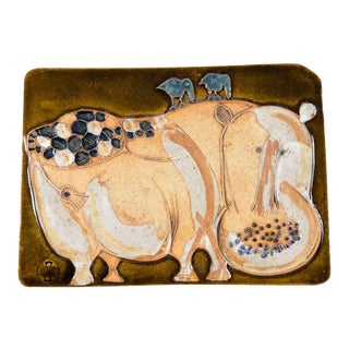 Hal Fromhold American Studio Ceramic Hippo Wall Plaque