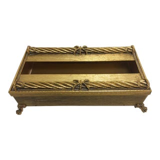 Hollywood Regency Goldtone Tissue Box