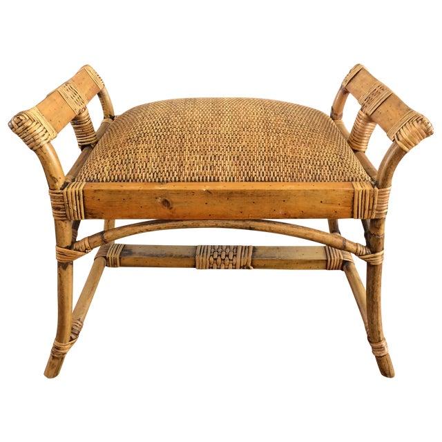 Rattan And Bamboo Vanity Bench Seat Stool Chairish