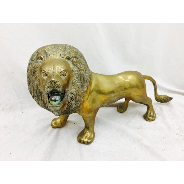 Vintage Brass Lion Sculpture - Image 5 of 10