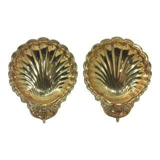 Solid Brass Shell Wall Candle Sconces - A Pair