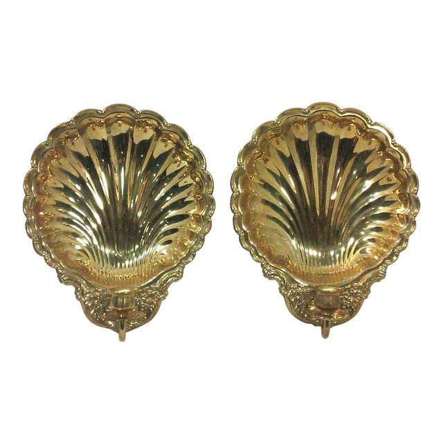 Solid Brass Shell Wall Candle Sconces - A Pair - Image 1 of 8