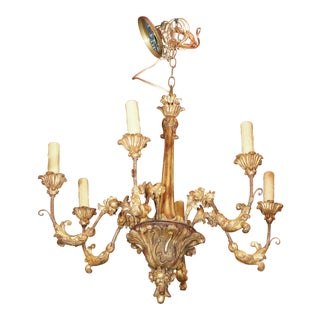 19th century Italian Gilt Wood Chandelier
