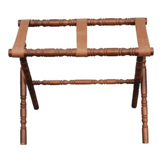 Mid-Century Carved Walnut Luggage Rack