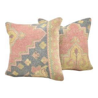 Handmade Vintage Turkish Rug Pillows - A Pair