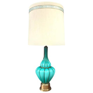 Marbro Turquoise Murano Glass & Brass Table Lamp