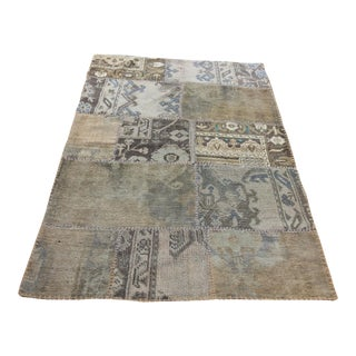 Turkish Vintage Overdyed Patchwork Oushak Rug - 3′8″ × 5′2″