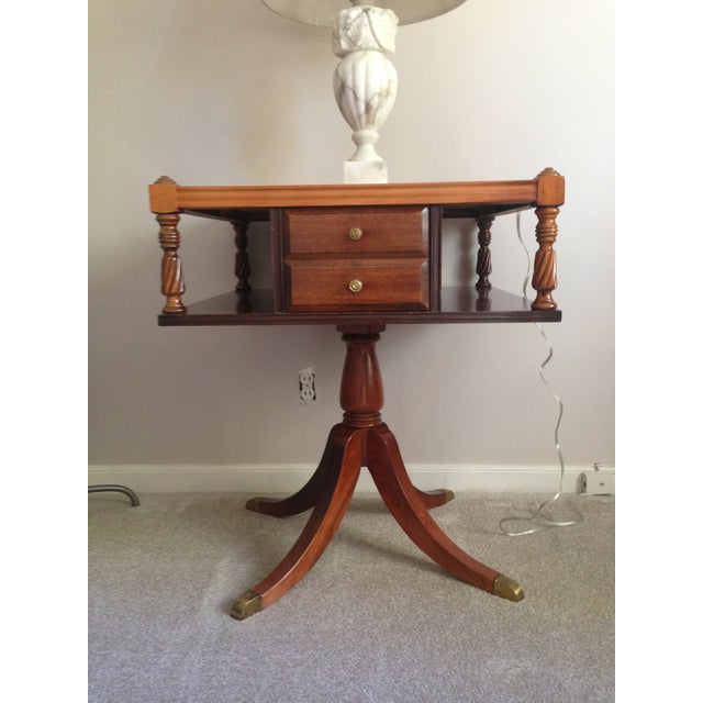 Image of Drexel Mahogany and Leather Side Table