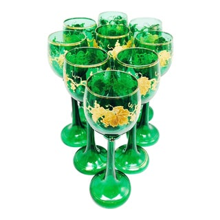 9 TALL MOSER GREEN ENAMEL GOBLETS CIRCA 1900. HEAVY GOLD