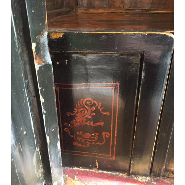 Antique Chinese Painted Wood Cabinet - Image 7 of 10