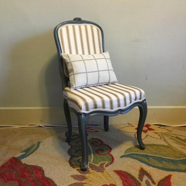 Antique Yellow & Gray Stripe Chair - Image 5 of 7