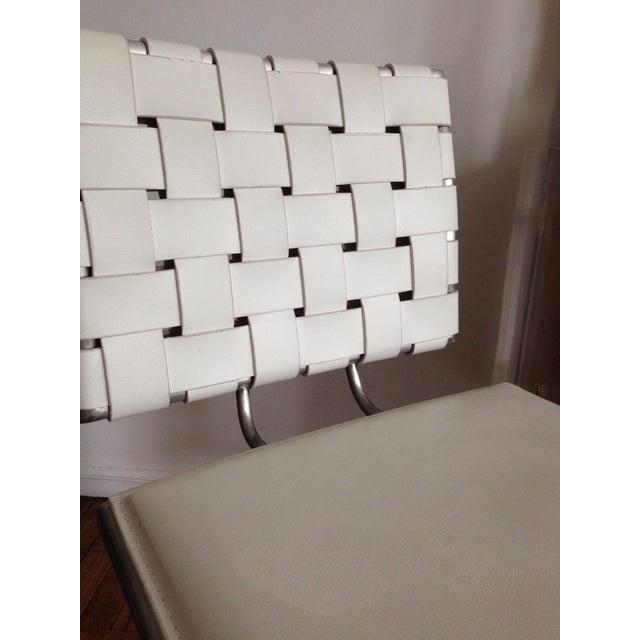 Modani White Woven Leather Bar Stools A Pair Chairish