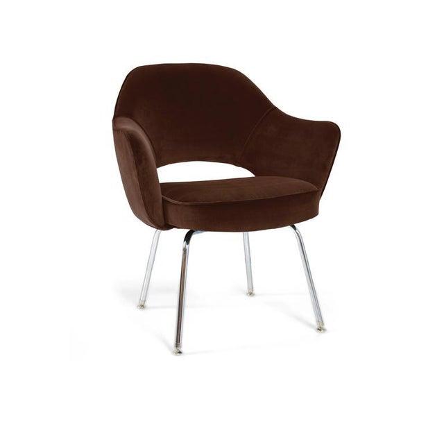 Saarinen Executive Armchairs in Espresso Brown Velvet, Set of Six - Image 3 of 4