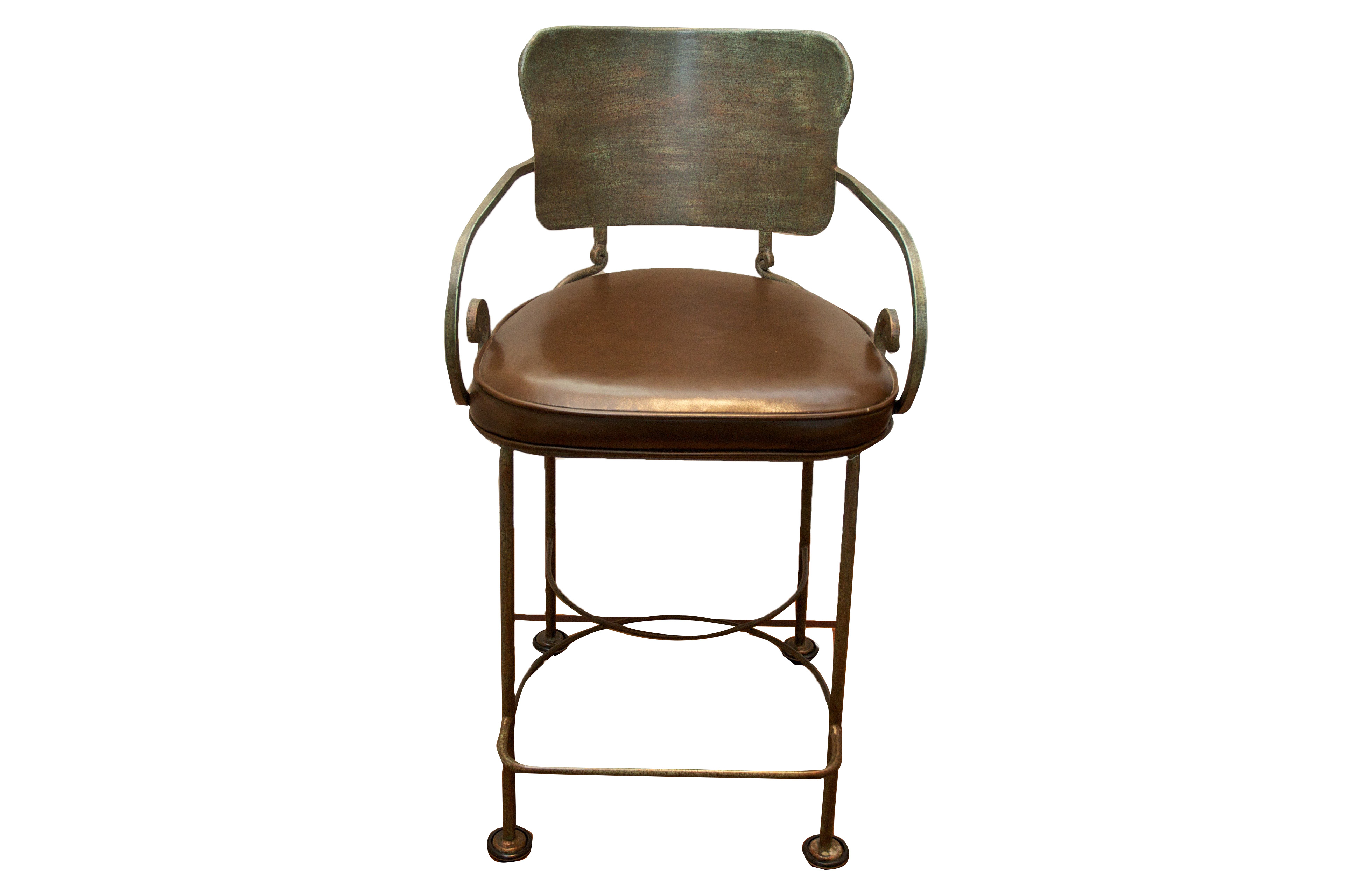 Wrought Iron Counter Stool With Leather Seat Chairish