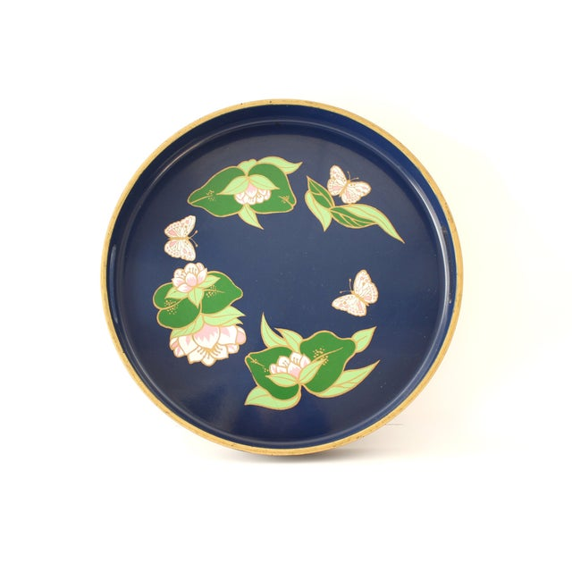 Vintage Blue Lacquered Lotus Flower Serving Tray - Image 2 of 6