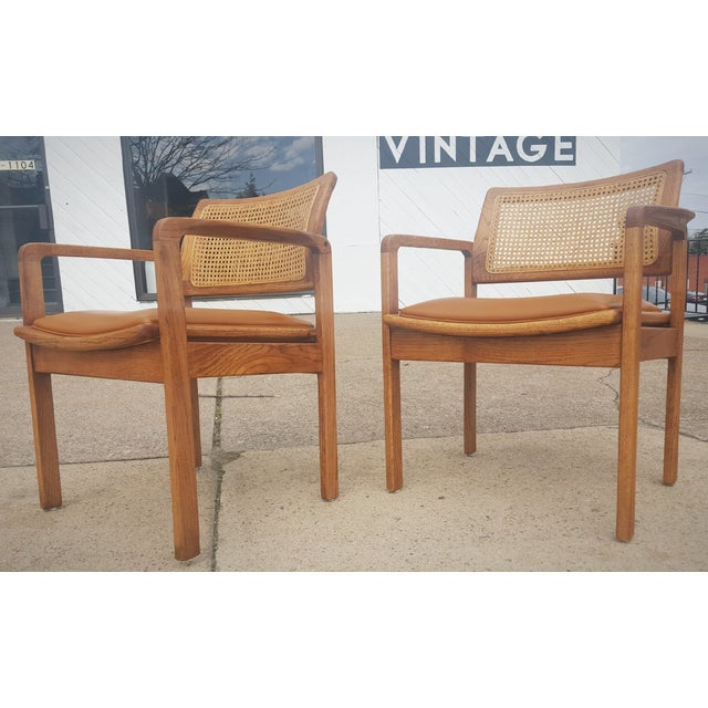 Vintage Rattan Back Guest Armchairs - Pair - Image 5 of 8