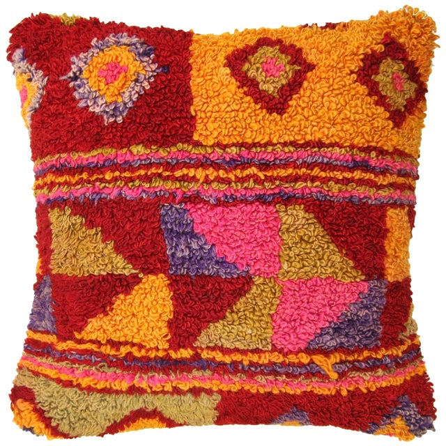 Image of Colorful Vintage Turkish Tulu Pillow | 20""