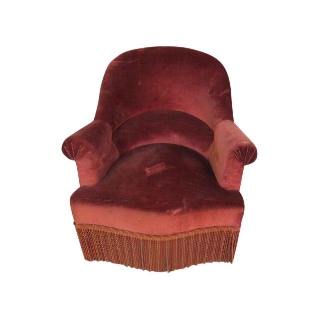 Vintage 1940s Crimson Red Slipper Chair - Image 1 of 5
