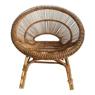 Franco Albini Style Rattan Hoop Chair