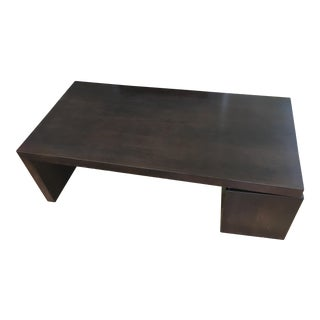 Dark Wood Coffee Table With Rolling Storate