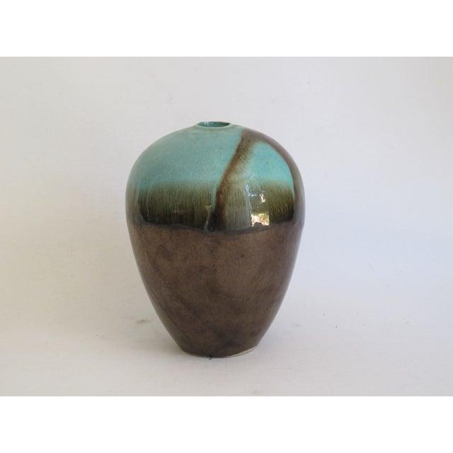 Teal & Brown Chinese Glazed Porcelain Vase - Image 2 of 6