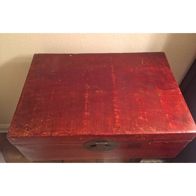 Image of Red Authentic Antique Chinese Trunk