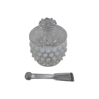 Moonstone Hobnail Mustard Pot With Scoop