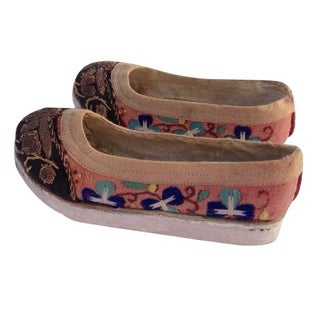Antique Chinese Embroidered Manchu Shoes