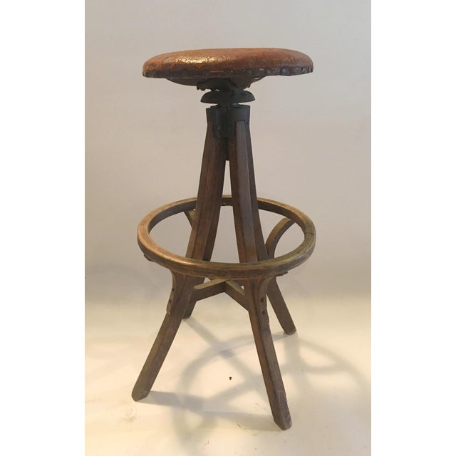 Image of Vintage Industrial Leather Swivel Stool