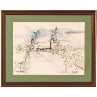 Original Watercolor of a Bridge Scene