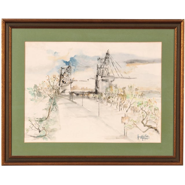 Image of Original Watercolor of a Bridge Scene