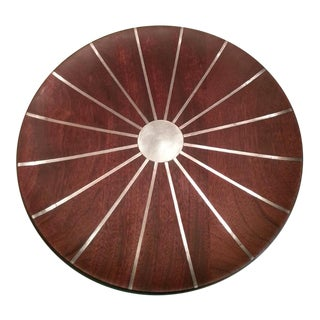 Mid Century Paul Evans Phillip Lloyd Powell Walnut & Inlaid Pewter Sunburst Platter Charger