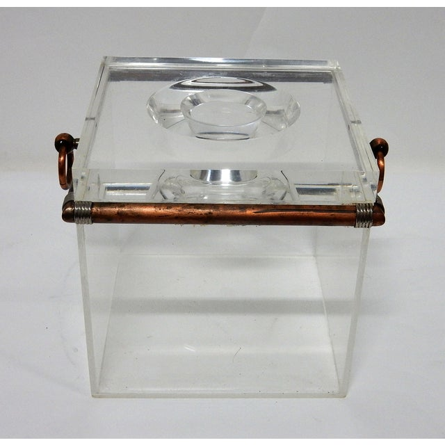 Vintage Cube Brass & Lucite Ice Bucket - Image 3 of 8